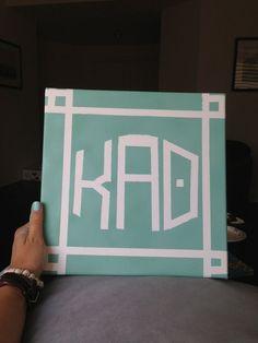 Kappa Alpha Theta painted canvas | using tape and colors of your choice #theta1870 #thetadiy