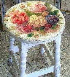Vintage look hand-painted stool