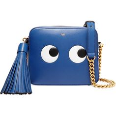 Anya Hindmarch Eyes embossed leather shoulder bag ($1,155) ❤ liked on Polyvore featuring bags, handbags, shoulder bags, blue, leather handbags, embossed leather purse, royal blue handbag, shoulder handbags and blue leather purse
