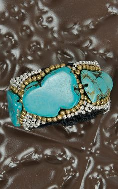 Pannee Turquoise Stone with Silver & Gold Beads Black Rope Cuff | Cavender's