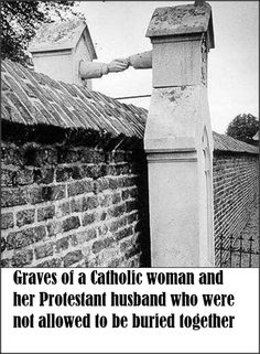 """Graves of a Catholic woman and her Protestant husband, who were not allowed to be buried together. Roermond, South-Eastern Netherlands, (This still happens today in N. America, where cemeteries have a """"Catholic only"""" section. Foto Picture, Cemetery Art, Powerful Images, Nikola Tesla, Interesting History, Interesting Photos, Historical Photos, Monuments, Ancient Greece"""