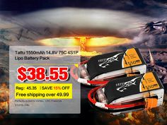 TATTU 1550mAh 4S1P 75C lipo battery packs Max Burst Discharge: Perfectly suited to Vortex,LRC Freestyle V1(270-296) DRONE AND FPV ETC.
