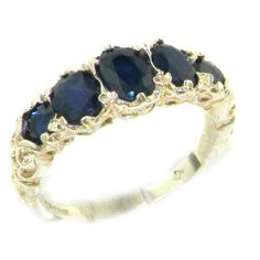 High Quality Solid 14K White Gold Natural Sapphire English Victorian Ring - Finger Sizes 5 to 12 Available - Perfect Gift for Birthday, Christmas, Valentines Day, Mothers Day, Mom, Grandmother, Daughter, Graduation, Bridesmaid. LetsBuyGold, http://www.amazon.com/dp/B005OAPFUG/ref=cm_sw_r_pi_dp_em0.qb0YY5T95