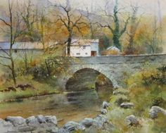 Elterwater bridge in autumn. and September Watercolor Painting Techniques, Watercolor Drawing, Landscape Paintings, Landscapes, Art Tutor, River Painting, Art Aquarelle, Pictures To Paint, British Isles