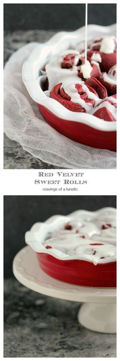 Red Velvet Sweet Rolls- You'll love this recipe for red velvet sweet rolls, loaded with chocolate, with hints of cinnamon and nutmeg, then slathered with a vanilla glaze! Get the recipe at cravingsofalunatic.com