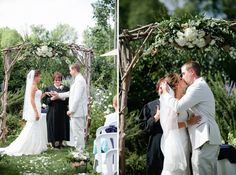Green Villa Barn wedding. Twig branch ceremony arch