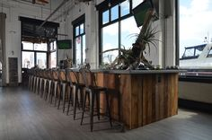 Our #barn #beams cover this #JerseyCity #restaurant bar.