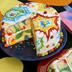 A groovy, tie-dye cake -- with colors inside and out -- would be fun for an end-of-summer party!