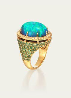 Tamsen Z - Black opal demantoid garnet pavé, yellow diamond pavé, 18k gold