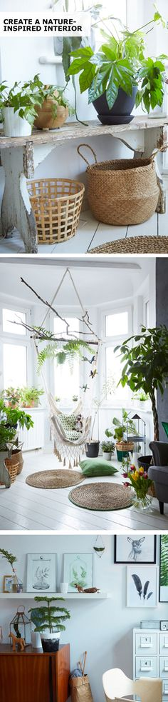 You don't need a big outdoor space to enjoy the beauty and benefits of nature at home.Create a natural display with IKEA indoor plants and other natural materials. Photography by Dan Duchars. Styling by Louisa Grey.