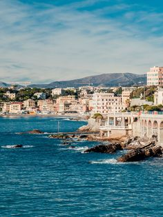 View of Genoa, port city in northern Italy