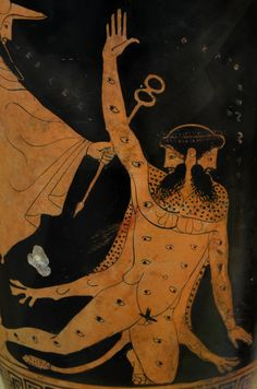Museum of the Roman Forum (Thessaloniki): Red figure lekythos with a depiction of Hermes slaying Argos- the hundred-eyed guardian of the transformed Ιο-, by the Pan Painter, found in Ancient Aphytis. (470-460 B.C)