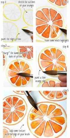 Aquarell orangen muster tutorial aquarell muster orangen paintingartideas patterns and starter pages Watercolor Paintings For Beginners, Watercolour Tutorials, Watercolor Techniques, Watercolour Painting, Painting & Drawing, How To Watercolor, Watercolors, Abstract Watercolor, Watercolor Beginner