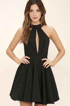 You'll make a charming debut when you step out in the Smile Sweetly Black Skater Dress! A halter neckline (with buttoning back) tops a pleated bodice, with sultry front and back cutouts. Woven poly skirt flares into a flirty silhouette below a fitted waist. Hidden back zipper.