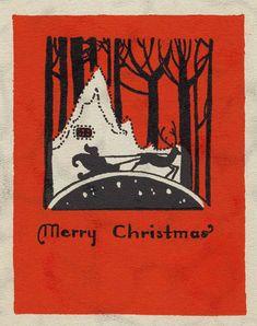 Printable Christmas cards - vintage postcard, Santa Claus, silhouette, sleigh, forest