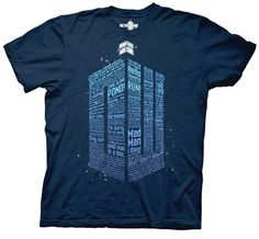 Doctor Who t-shirt with Words to form the Logo.