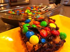 Lunchbox Brownies - A childhood fantasy of brownie batter, tollhouse cookie dough, and M-n-M's.