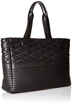 725fee25c3b94c Armani Jeans Quilted Eco Leather Moto Inspired East West Tote with Zipper  Closure