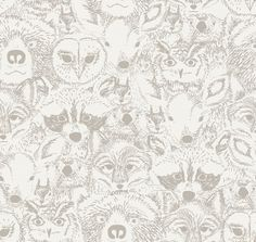Bloome Copenhagen luomutrikoo: Eläimet luonnonvalko-malva Timberwolf, Indian Summer, New Room, Copenhagen, Deer, Textiles, Tapestry, Quilts, Squirrels