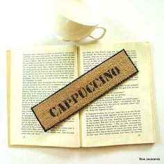 Bookmark Upcycled Coffee Sack Cappuccino Stenciled Rustic Burlap by BlueJacaranda