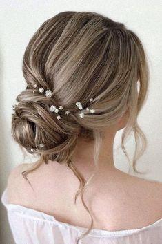 36 Rustic Wedding Hairstyles ❤ rustic wedding hairstyles elegant low bun with loose curls and baby breath pearly.hairstylist #weddingforward #wedding #bride #rusticwedding #rusticweddinghairstyles