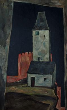 Leopold Hauer, DER LETZTE TURM, um 1960, WV 1336, Öl auf Hartfaser, 115 x 68 cm Urban, Photo And Video, Videos, Houses, Painting, Instagram, Homes, Painting Art, Paintings