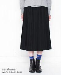 SARAH WEAR [サラウェア] ミモレ丈 ウール プリーツスカート