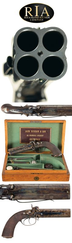 Extraordinary Cased and Engraved John Dickson & Son Edinburgh Production Four Barrel Percussion Pistol with Accessories
