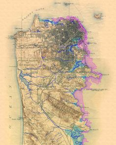 The above map is of the San Francisco peninsula in the 19th century, showing the creeks and original shoreline, before all the development and landfill. Below are a couple of maps of the San Franci…