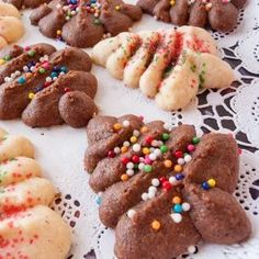 Recipe for chocolate and vanilla cream cheese spritz cookies.