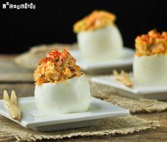 Huevos rellenos con bacon y cheddar | L'Exquisit