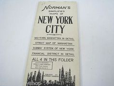 Vintage Norman's Simplified Map Of New York http://www.luckypennyshop.com/collecting.htm