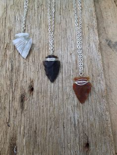 Handmade sterling silver plate wire wrapped flint arrowhead necklace layering necklace  on Etsy, $20.00