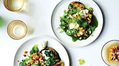 Grilled Green Tomatoes with Burrata and Green Juice Recipe | Bon Appetit