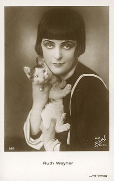 Ruth Weyher, 1920's German silent film actress, with cute kitty.  61 saves