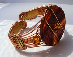 Red agate and copper cuff style bracelet