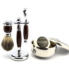 Pro Classy Wet Shaving Kit Safety Razor +Pure Badger Brush +Stand+Bowl Free Soap