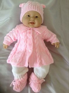 0-3 Month Baby Cabled and Panelled Matinee Coat, Long Pants Hat and Booties Will Also suit a 22 inch Reborn Baby Doll. Outfit Ready to Ship.