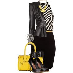 """""""Untitled #1124"""" by jay-to-the-kay on Polyvore #yellowoutfitideas #stripes"""