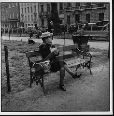 1953, Berkeley Square, London, England, UK --- Woman Knitting
