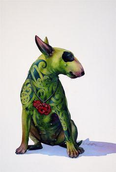 The Dogs - artnik English Bull Terriers, Bull Terrier Dog, Surface Art, Nz Art, Puppies And Kitties, Doggies, Maori Art, Desenho Tattoo, Dog Paintings