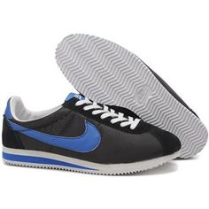 http://www.asneakers4u.com/ Men Nike Cortez Oxford Cloth Shoes Black Deep Blue