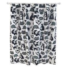 Forest Friends Shower Curtain Ebony Opaque - Pillowfort™ : Target