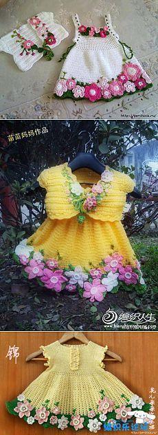 Charming baby dress * Spring * + crochet kits with bolero Baby Knitting Patterns, Knitting For Kids, Crochet For Kids, Baby Patterns, Knit Crochet, Crochet Hats, Crochet Patterns, Filet Crochet, Crochet Dresses