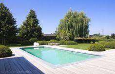 Buitenzwembad met padoek terras, skimmer zwembad, liner | De Mooiste Zwembaden