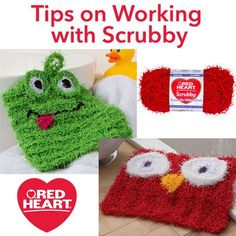 Tips on Working with Scrubby -- Red Heart Scrubby yarn is a textured worsted weight yarn named for the fact that it is well-suited to making knit and crochet dishcloths. If you have never used it before, you might have some questions about it, so here are our tips for working with Scrubby.
