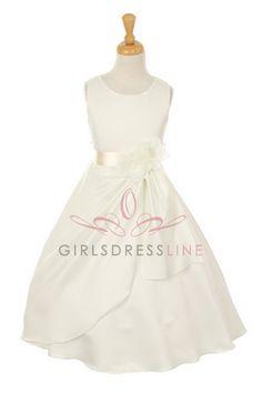 Ivory/Ivory Bridal Dull Satin Flower Girl Dress B1165-IV B1165-IV $48.95 on www.GirlsDressLine.Com
