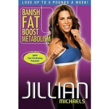 """DVD Review in Brief:  """"Banish Fat, Boost Metabolism""""  Jillian Michaels leads participants through this 55-minute workout which consists of seven, 6-minute, dynamic cardio/ab circuits plus a warm-up and a cool down.  Most moves are at an intermediate level; however, beginner modifications and advanced versions of some moves are demonstrated.  The circuits include kick boxing, plyometrics, old-school calisthenics, core/mat work, kick boxing (a second set), plyo sports drills, and a combination…"""