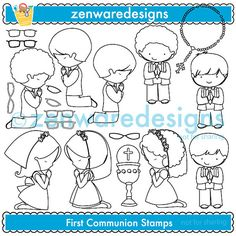 First Communion Digital Stamps by ZenwareDesigns on Etsy