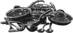 Cuisinart - 15-Piece Ceramic-Coated Cookware Set - Black * For more information, visit image link.